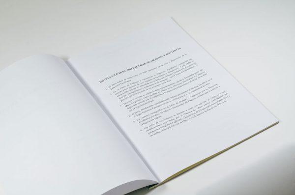 Instrucciones de uso del libro de órdenes y asistencia
