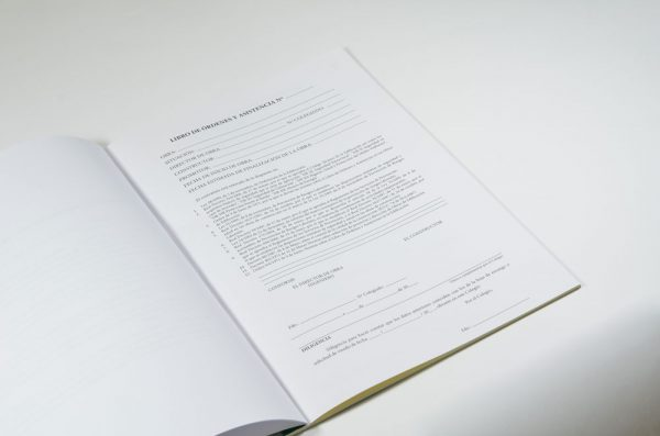 Hoja inscripción Libro de órdenes