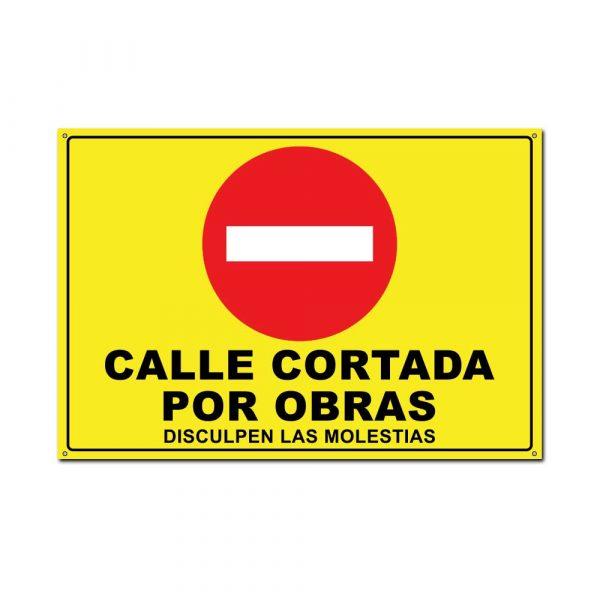 cartel amarillo advertencia de calle cortada por obras