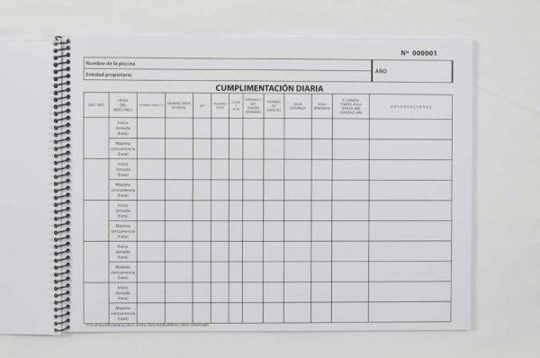 Libro registro control calidad agua piscinas