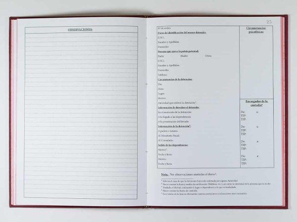 Libro registro detención menores - Policía Local