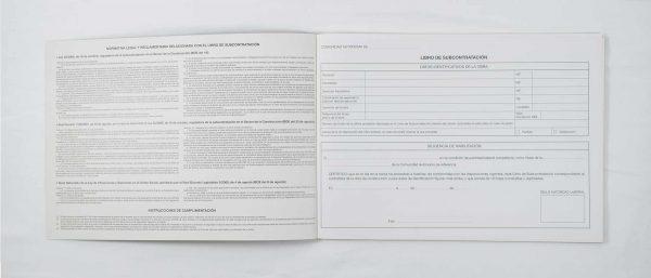 Libro registro subcontratación. Construcción