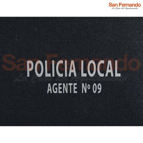 cartera personalizada con policia local y numero de agente