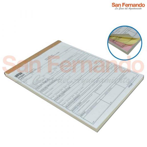 talonarios papel copiativo para multas denuncias policia local
