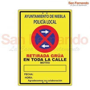 Cartel provisional para señalizar obras, cortes de calle, desvios, prohibido aparcar, R-308