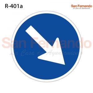 senal redonda azul flecha paso obligatorio