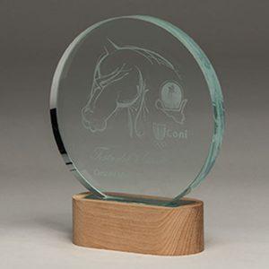 trofeo de cristal iluminado con luz. grabación laser CO2 personalizado