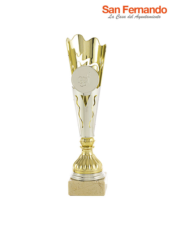 Copa trofeo antorcha con base de mármol personalizable