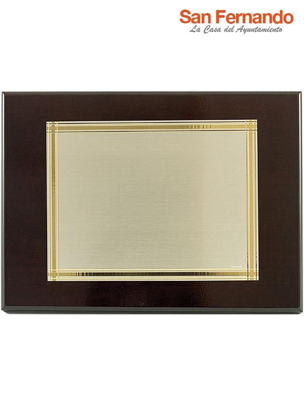 placa homenaje latón economica oro madera
