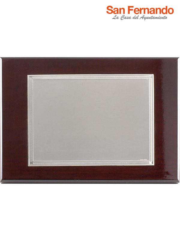 placa de homenaje madera plata