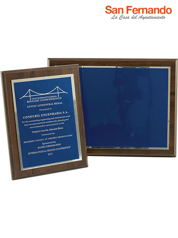 placa homenaje conmemorativa metal azul