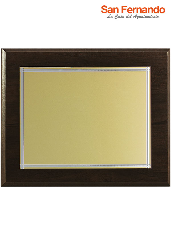 placa homenaje nogal color oro