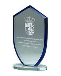 trofeo de cristal deporte grabado