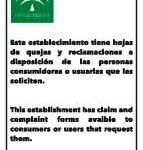 Cartel gratis hoja reclamaciones junta andalucia