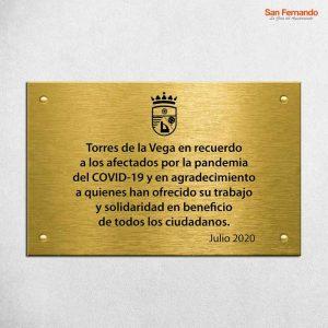 Placa Conmemorativa Homenaje latón