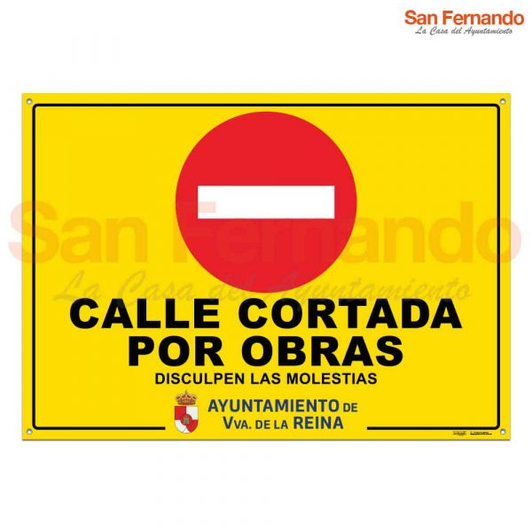 cartel calle cortada por obras