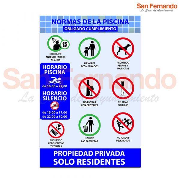 cartel con normas de piscina publica privada