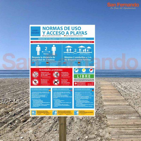 cartel norma de uso playa coronavirus