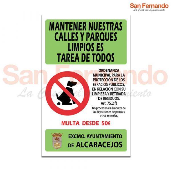 Cartel norma de uso limpieza cacas perros
