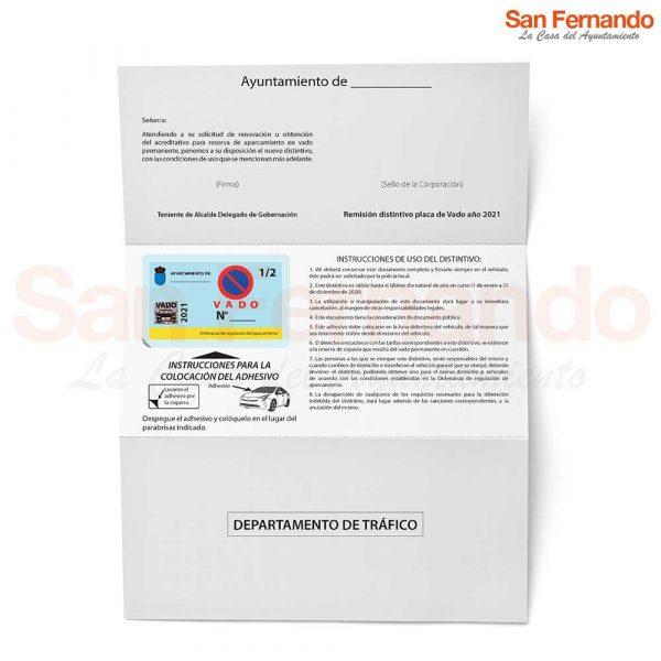 Docuparking carta para aparcar en Vado Permanente