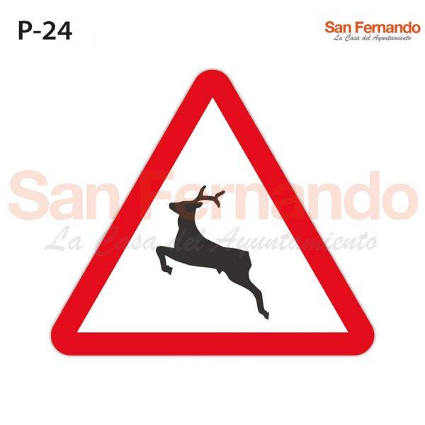 Senalizacion vertical. Triangular peligro animales libertad ciervo