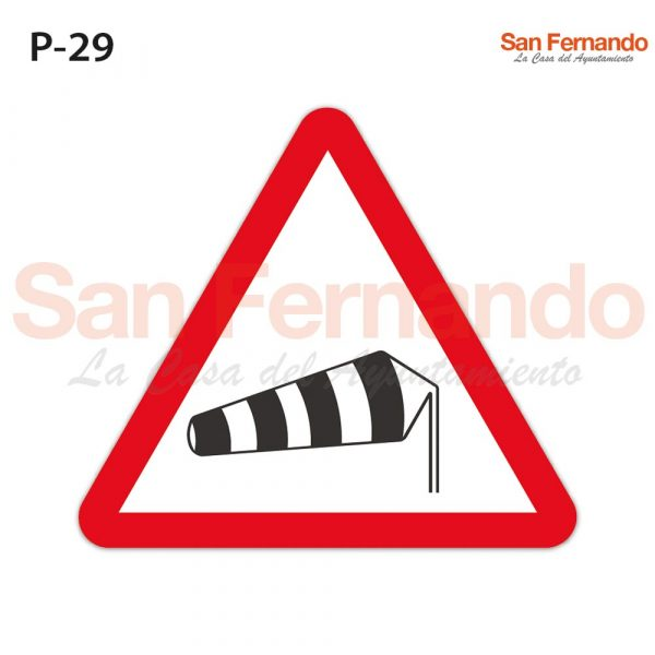 Senalizacion vertical. Triangulo peligro viento transversal