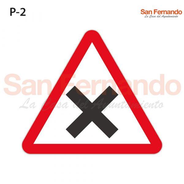 senal peligro triangulo interseccion