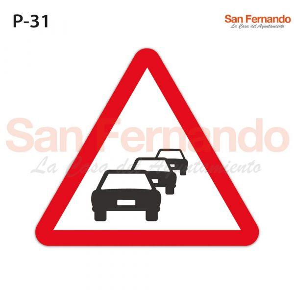 Senalizacion vertical. Triangulo peligro trafico