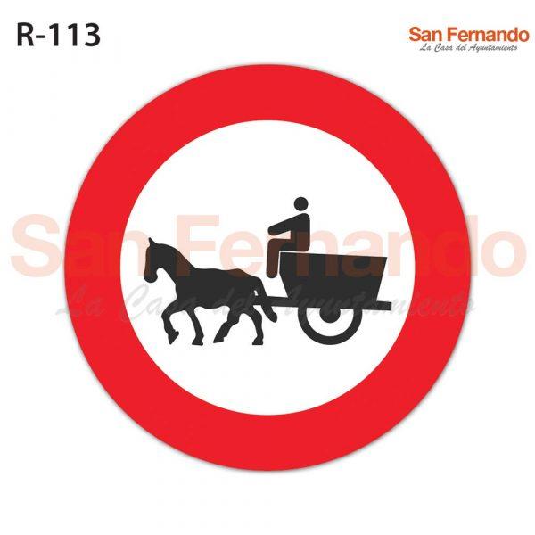senalizacion vertical prohibicion entrada carros caballos