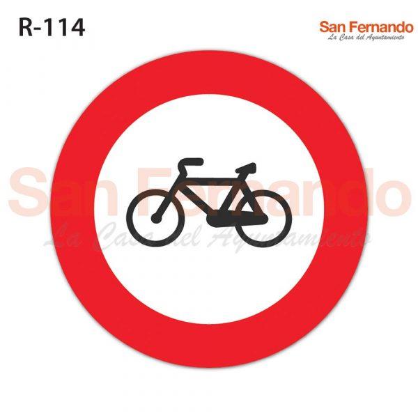 senalizacion vertical prohibicion entrada bicicletas