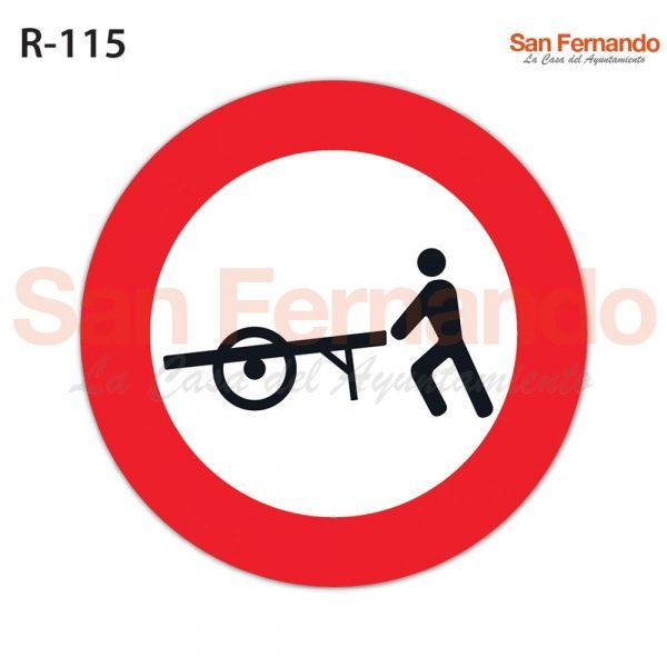 senalizacion vertical, prohibicion entrada carros de mano