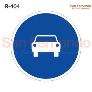calzada obligatoria automoviles. senal azul redonda