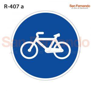 carril carretera bici bicicleta. senal redonda azul