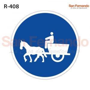 camino obligatorio coches caballos senal redonda azul