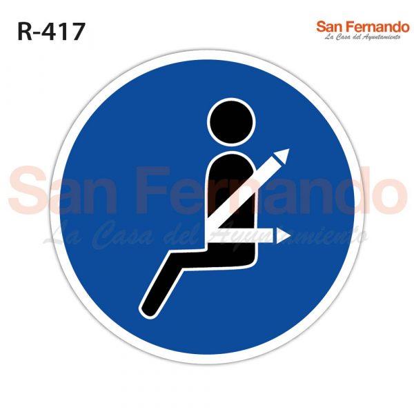 senalizacon vertical. obligacion uso cinturon seguridad