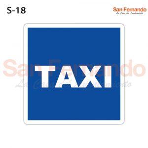 senal informativa cuadrada azul taxi