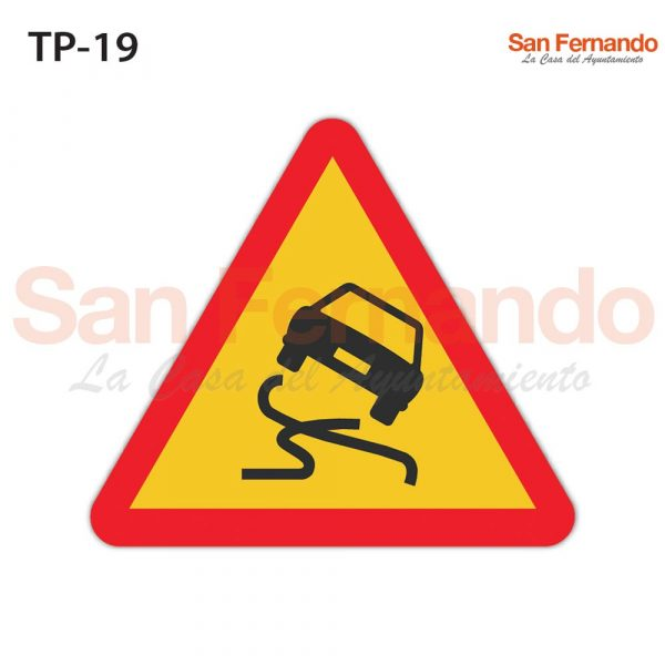 senalizacion vertical codigo. triangulo amarillo coche deslizante