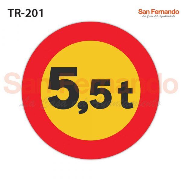 senalizacion vertical redonda amarilla. peso maximo