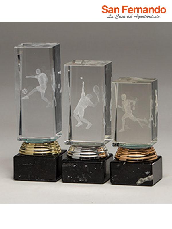 Trofeo cubo cristal 3D