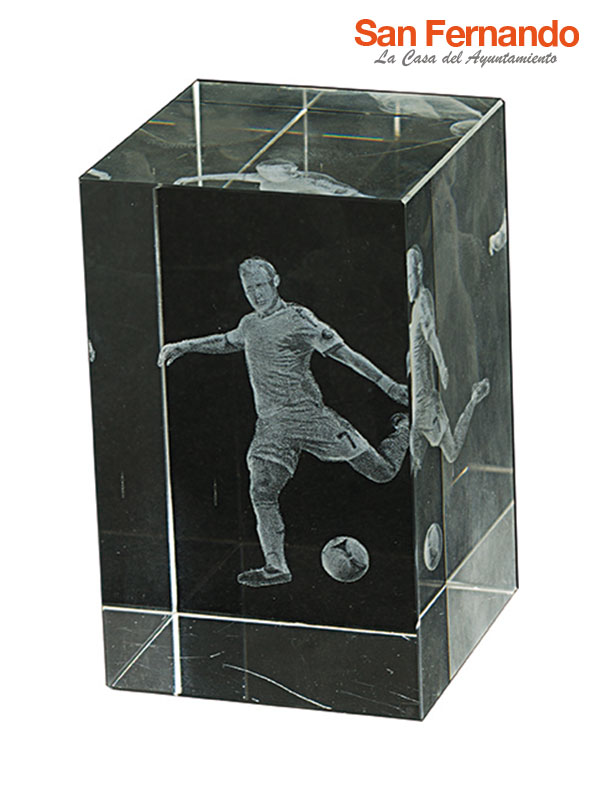 Grabación trofeo en cristal 3D futbol