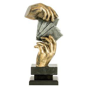 Trofeo cartas dorado